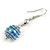Silver Tone Blue Faux Pearl Drop Earrings - 5cm Long - view 4