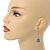 Silver Tone Blue Faux Pearl Drop Earrings - 5cm Long - view 2
