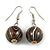 Brown/ Black/ White Colour Fusion Wood Bead Drop Earrings with Silver Tone Closure - 40mm Long
