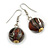 Brown/ Black/ White Colour Fusion Wood Bead Drop Earrings with Silver Tone Closure - 40mm Long - view 3