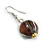 Brown/ Black/ White Colour Fusion Wood Bead Drop Earrings with Silver Tone Closure - 40mm Long - view 4