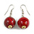 Red/ Black/ Golden Colour Fusion Wood Bead Drop Earrings with Silver Tone Closure - 40mm Long - 40mm Long