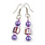 Purple/ Pink Glass and Shell Bead Drop Earrings with Silver Tone Closure - 6cm Long