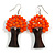 Orange Glass Bead Brown Wood Tree Drop Earrings - 70mm Long