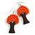 Orange Glass Bead Brown Wood Tree Drop Earrings - 70mm Long - view 4