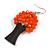 Orange Glass Bead Brown Wood Tree Drop Earrings - 70mm Long - view 5