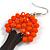 Orange Glass Bead Brown Wood Tree Drop Earrings - 70mm Long - view 6