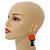 Orange Glass Bead Brown Wood Tree Drop Earrings - 70mm Long - view 2