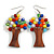 Multicoloured Glass Bead Brown Wood Tree Drop Earrings - 70mm Long - view 1