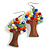 Multicoloured Glass Bead Brown Wood Tree Drop Earrings - 70mm Long - view 4