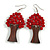 Red Glass Bead Brown Wood Tree Drop Earrings - 70mm Long