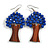 Blue Glass Bead Brown Wood Tree Drop Earrings - 70mm Long