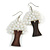 White Glass Bead Brown Wood Tree Drop Earrings - 70mm Long - view 1