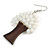 White Glass Bead Brown Wood Tree Drop Earrings - 70mm Long - view 4