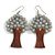 Grey Glass Bead Brown Wood Tree Drop Earrings - 70mm Long