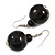 Black Wood Bead Drop Earrings - 50mm Long