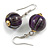 Purple/ Black/ White/ Golden Colour Fusion Wood Bead Drop Earrings with Silver Tone Closure - 40mm Long
