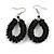 Black Glass Bead Loop Drop Earrings In Silver Tone - 60mm Long