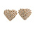Clear Crystal Heart Clip On Earrings In Gold Tone - 23mm Across - view 4