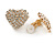 Clear Crystal Heart Clip On Earrings In Gold Tone - 23mm Across - view 5