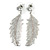 Silver Tone Clear Crystal Delicate Feather Drop Earrings - 50mm Long