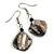 Black Shell Bead Drop Earrings In Silver Tone - 50mm Long
