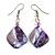 Purple Shell Bead Drop Earrings In Silver Tone - 50mm Long