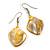 Antique Yellow Shell Bead Drop Earrings In Silver Tone - 50mm Long