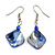 Blue Shell Bead Drop Earrings In Silver Tone - 50mm Long