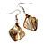 Khaki Brown Shell Bead Drop Earrings In Silver Tone - 50mm Long