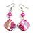 Fuchsia Shell Bead Drop Earrings In Silver Tone - 60mm Long - view 3