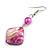 Fuchsia Shell Bead Drop Earrings In Silver Tone - 60mm Long - view 4