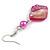 Fuchsia Shell Bead Drop Earrings In Silver Tone - 60mm Long - view 5