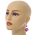 Fuchsia Shell Bead Drop Earrings In Silver Tone - 60mm Long - view 2
