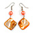 Orange Shell Bead Drop Earrings In Silver Tone - 60mm Long