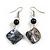 Black Shell Bead Drop Earrings In Silver Tone - 60mm Long