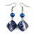 Blue Shell Bead Drop Earrings In Silver Tone - 60mm Long