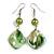 Green Shell Bead Drop Earrings In Silver Tone - 60mm Long