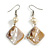 Antique White Shell Bead Drop Earrings In Silver Tone - 60mm Long