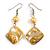 Antique Yellow  Shell Bead Drop Earrings In Silver Tone - 60mm Long
