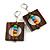 Multicoloured Wood Bead Square Drop Earrings In Silver Tone - 60mm Drop