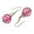 Silver Tone Pink Faux Pearl Bead Drop Earrings - 4cm Drop - view 3