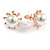 15mm White Simulated Glass Pearl Sunflower Stud Earrings In Rose Gold Tone Metal
