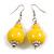 Banana Yellow Double Bead Wood Drop Earrings In Silver Tone - 60mm Long