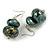 Teal/ Black/ Gold Double Bead Wood Drop Earrings In Silver Tone - 55mm Long