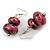 Fuchsia Pink/ Black/ Gold Double Bead Wood Drop Earrings In Silver Tone - 55mm Long