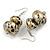 Metallic Silver/ Black/ Gold Double Bead Wood Drop Earrings In Silver Tone - 55mm Long