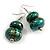 Green/ Black/ Gold Double Bead Wood Drop Earrings In Silver Tone - 55mm Long