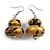 Glitter Gold/ Black Double Bead Wood Drop Earrings In Silver Tone - 55mm Long - view 3
