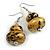 Glitter Gold/ Black Double Bead Wood Drop Earrings In Silver Tone - 55mm Long - view 4